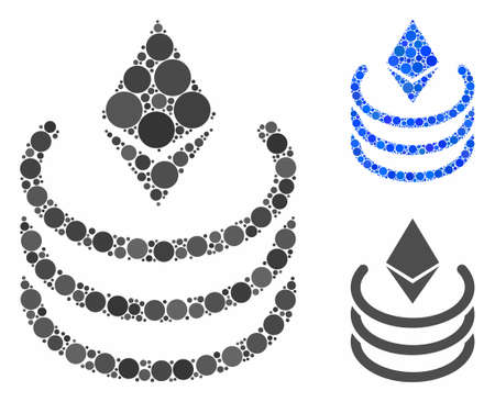 Ethereum portal composition for Ethereum portal icon of small circles in different sizes and color hues. Vector small circles are organized into blue composition.