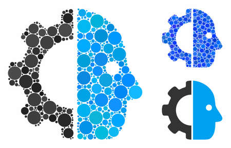Cyborg gear composition for cyborg gear icon of small circles in different sizes and color tinges. Vector small circles are organized into blue mosaic. Illusztráció