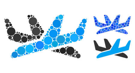 Crossing airplanes composition for crossing airplanes icon of filled circles in different sizes and color tints. Vector random circles are composed into blue illustration.