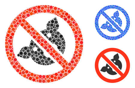 Banned pig composition for banned pig icon of filled circles in different sizes and color tones. Vector filled circles are organized into blue illustration.