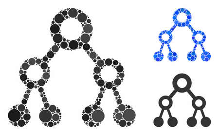Binary tree composition for binary tree icon of small circles in various sizes and shades. Vector small circles are combined into blue mosaic. Dotted binary tree icon in usual and blue versions. Ilustrace
