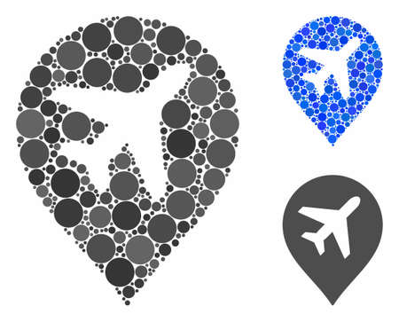 Airplane mosaic for airplane icon of small circles in various sizes and color hues. Vector filled circles are grouped into blue collage. Dotted airplane icon in usual and blue versions.