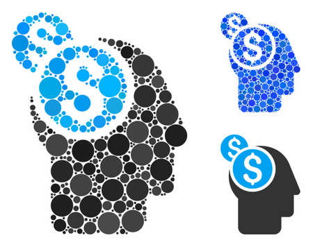 Business thinking mosaic for business thinking icon of small circles in variable sizes and color tones. Vector random circles are composed into blue mosaic. Illusztráció