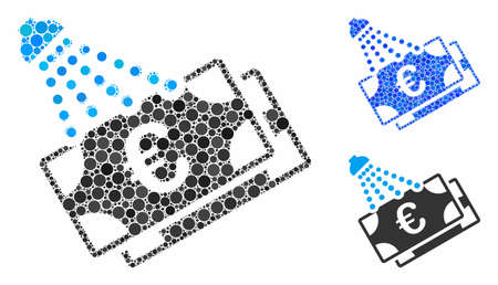 Euro money laundry mosaic for Euro money laundry icon of round dots in variable sizes and shades. Vector round dots are united into blue composition. Ilustração