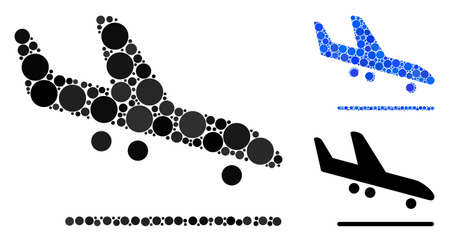 Airplane arrival mosaic for airplane arrival icon of small circles in variable sizes and color tinges. Vector small circles are united into blue composition.