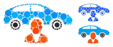Car owner composition for car owner icon of filled circles in various sizes and shades. Vector random circles are grouped into blue composition. Dotted car owner icon in usual and blue versions. Çizim