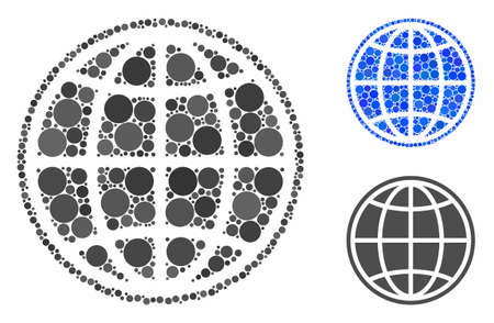 Internet composition for internet icon of filled circles in variable sizes and shades. Vector filled circles are grouped into blue composition. Dotted internet icon in usual and blue versions.
