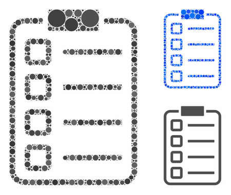 Checklist pad mosaic for checklist pad icon of circle elements in variable sizes and color tinges. Vector circle elements are combined into blue mosaic.