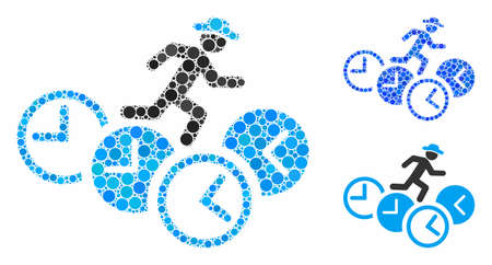 Gentleman running over clocks composition for gentleman running over clocks icon of spheric dots in variable sizes and shades. Vector round dots are united into blue collage.