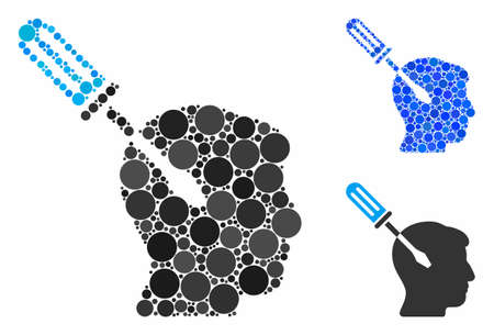 Intellect screwdriver tuning mosaic for intellect screwdriver tuning icon of small circles in variable sizes and color tinges. Vector filled circles are organized into blue composition.