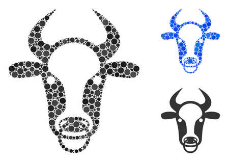 Bull ring mosaic for bull ring icon of circle elements in different sizes and color tints. Vector circle elements are combined into blue mosaic. Dotted bull ring icon in usual and blue versions.
