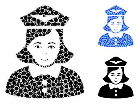 Airline stewardess composition for airline stewardess icon of round dots in variable sizes and color tints. Vector round elements are grouped into blue composition. Vettoriali
