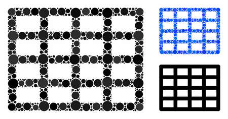 Grid mosaic for grid icon of circle elements in various sizes and color hues. Vector circle elements are organized into blue illustration. Dotted grid icon in usual and blue versions. Ilustração