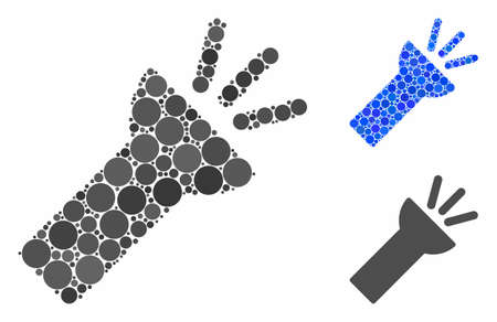Electric torch light mosaic for electric torch light icon of round dots in different sizes and color tones. Vector round dots are organized into blue composition. Illusztráció