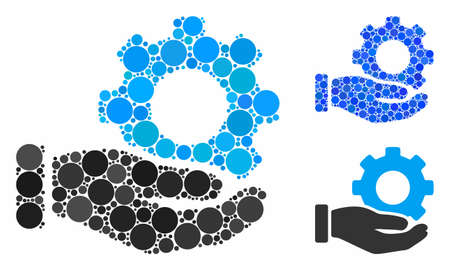 Mechanic gear service hand composition for mechanic gear service hand icon of round dots in different sizes and shades. Vector round dots are organized into blue illustration.