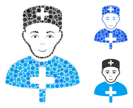 Church doctor mosaic for church doctor icon of filled circles in different sizes and color hues. Vector filled circles are composed into blue composition. Çizim
