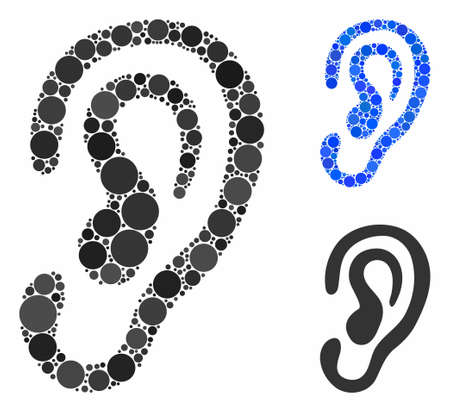 Ear mosaic for ear icon of small circles in variable sizes and color tinges. Vector small circles are combined into blue composition. Dotted ear icon in usual and blue versions. Ilustração