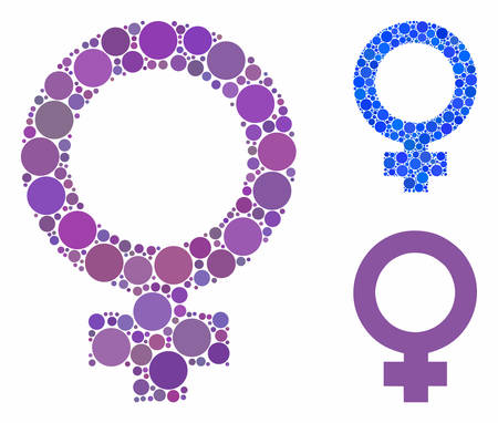Female symbol composition for female symbol icon of round dots in various sizes and color tones. Vector round elements are combined into blue composition. Banque d'images - 131166941