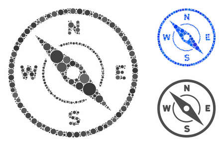 Compass mosaic for compass icon of filled circles in different sizes and color tints. Vector filled circles are combined into blue collage. Dotted compass icon in usual and blue versions.