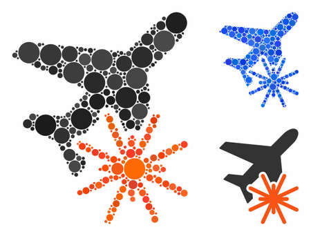Aiplane explosion composition for aiplane explosion icon of circle elements in various sizes and color tinges. Vector circle elements are grouped into blue collage.