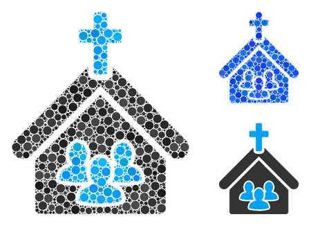 Church people mosaic for church people icon of round dots in variable sizes and shades. Vector round dots are composed into blue mosaic. Dotted church people icon in usual and blue versions.