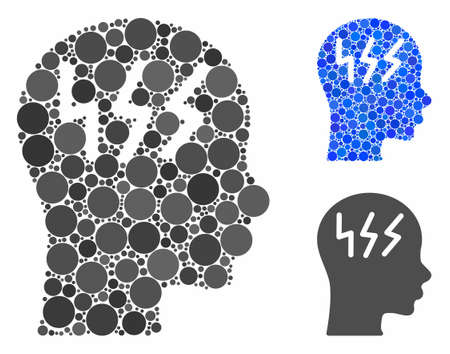 Headache mosaic for headache icon of small circles in variable sizes and color tinges. Vector filled circles are composed into blue mosaic. Dotted headache icon in usual and blue versions. Иллюстрация