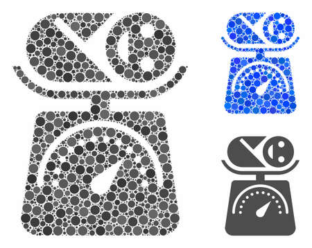 Baby weight mosaic for baby weight icon of round dots in various sizes and color tints. Vector round dots are combined into blue collage. Dotted baby weight icon in usual and blue versions. Reklamní fotografie - 131177986