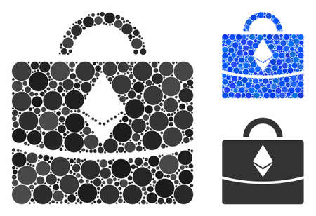 Ethereum business case mosaic for Ethereum business case icon of filled circles in variable sizes and shades. Vector filled circles are combined into blue mosaic.