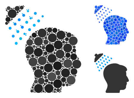 Head shower mosaic for head shower icon of filled circles in variable sizes and color tones. Vector filled circles are grouped into blue composition.
