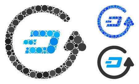 Dash refund composition for Dash refund icon of round dots in different sizes and color tinges. Vector round dots are organized into blue composition.