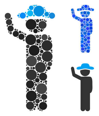 Gentleman hitchhike mosaic for gentleman hitchhike icon of round dots in different sizes and color tints. Vector dots are organized into blue mosaic. Çizim