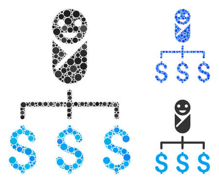Kid expenses mosaic for kid expenses icon of filled circles in different sizes and color hues. Vector filled circles are grouped into blue collage. Dotted kid expenses icon in usual and blue versions. Ilustrace