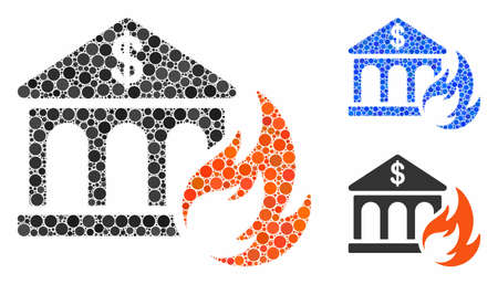 Bank fire disaster composition for bank fire disaster icon of circle elements in variable sizes and color tones. Vector round elements are combined into blue composition.