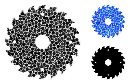 Circular saw blade mosaic for circular saw blade icon of round dots in different sizes and shades. Vector round dots are grouped into blue illustration. Ilustração