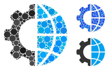 International manufacture composition for international manufacture icon of filled circles in variable sizes and shades. Vector filled circles are composed into blue mosaic.