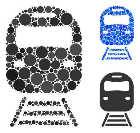 Train mosaic for train icon of small circles in variable sizes and color tinges. Vector filled circles are united into blue mosaic. Dotted train icon in usual and blue versions. Stock Illustratie