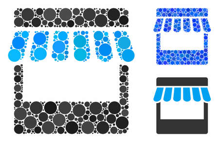 Store composition for store icon of circle elements in variable sizes and color tinges. Vector round elements are organized into blue composition. Dotted store icon in usual and blue versions.