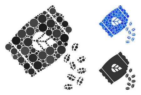 Sow seed pack composition for sow seed pack icon of spheric dots in different sizes and color tones. Vector dots are composed into blue composition.