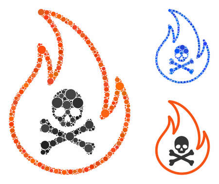 Toxic fire composition for toxic fire icon of round dots in different sizes and color tints. Vector round dots are grouped into blue composition. Dotted toxic fire icon in usual and blue versions.