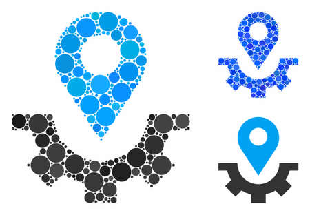 Service map marker composition for service map marker icon of small circles in variable sizes and color tones. Vector small circles are combined into blue mosaic.