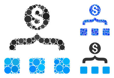 Money aggregator composition for money aggregator icon of round dots in different sizes and shades. Vector round elements are united into blue composition.