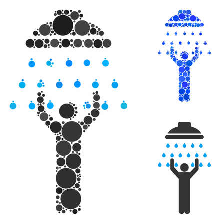 Man under shower composition for man under shower icon of circle elements in different sizes and color hues. Vector random circles are grouped into blue composition.