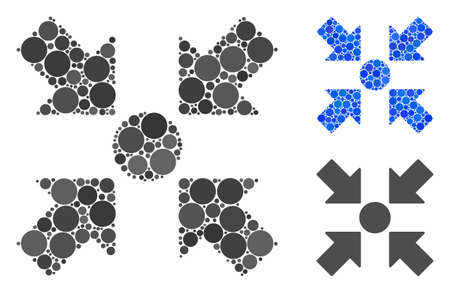 Meeting point mosaic for meeting point icon of round dots in various sizes and color tinges. Vector round dots are combined into blue composition. Dotted meeting point icon in usual and blue versions. Ilustração