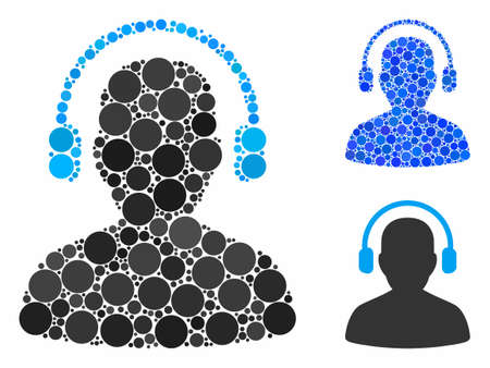 Listen operator mosaic for listen operator icon of round dots in variable sizes and color tints. Vector dots are combined into blue illustration.