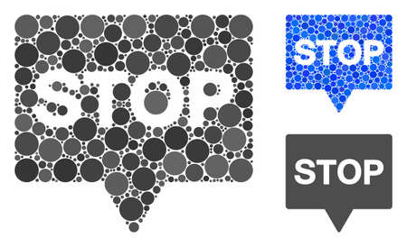 Stop banner mosaic for stop banner icon of round dots in different sizes and color tinges. Vector round dots are grouped into blue mosaic. Dotted stop banner icon in usual and blue versions.