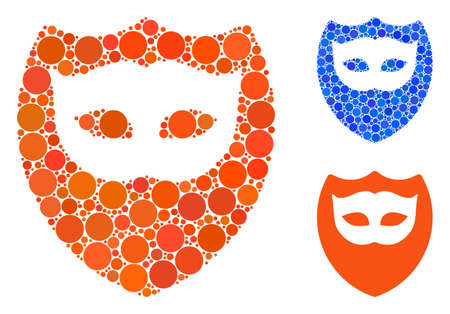 Mask shield composition for mask shield icon of small circles in variable sizes and color tinges. Vector small circles are combined into blue mosaic.