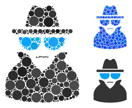 Spy mosaic for spy icon of filled circles in various sizes and color tints. Vector filled circles are composed into blue composition. Dotted spy icon in usual and blue versions. Çizim