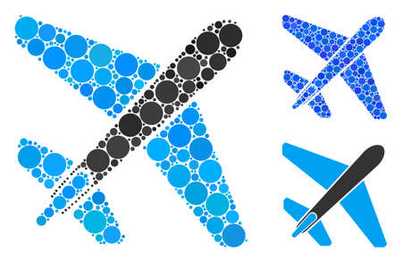 Jet airplane composition for jet airplane icon of filled circles in different sizes and color tinges. Vector filled circles are united into blue composition.