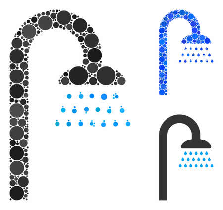 Shower composition for shower icon of spheric dots in various sizes and shades. Vector dots are organized into blue composition. Dotted shower icon in usual and blue versions.