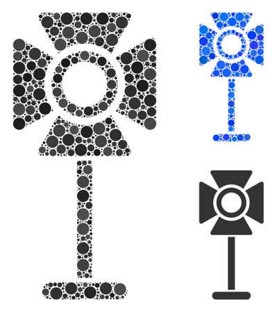 Spotlight rack mosaic for spotlight rack icon of filled circles in different sizes and color tinges. Vector random circles are composed into blue mosaic.